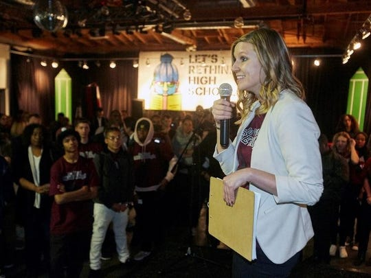 RISE High founder principal Kari Croft speaks at an