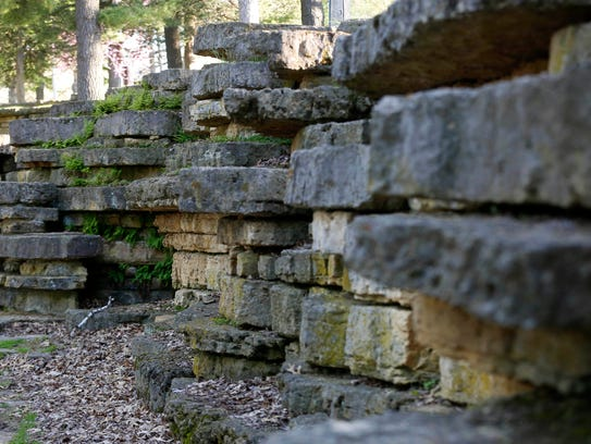 Limestone lines the rock garden Wednesday, May 4, 2016,