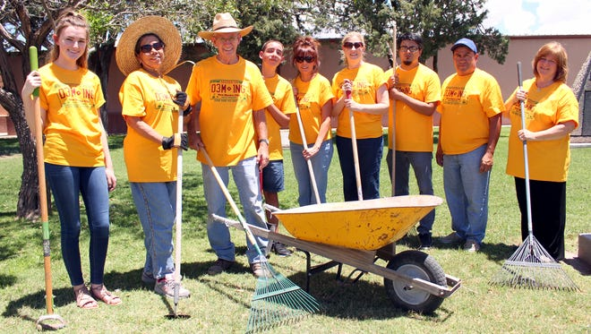 Members of the Misson Deming clean-up crew are, from left, Mattilyn Wisema, Rose O'Neil, Jim O'Neil, Freddie Sanchez, Michele Mejia, Beth Simpson, Luis Barrera, Paul Sanchez and Sue Holdridge.