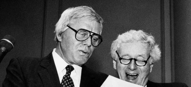 Singer-songwriter Tom T. Hall, left, parodies the high school file of John Seigenthaler at a Father Ryan High School benefit gala April 13, 1991. Seigenthaler, a 1945 graduate of the school, was the guest of honor.