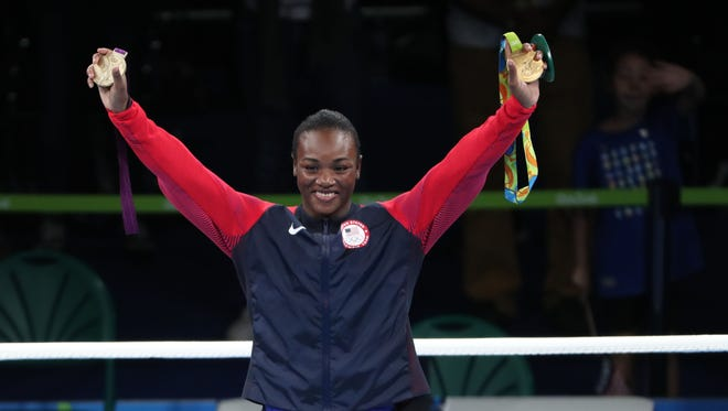 Claressa Shields (USA) on the podium with her medal after the women's middleweight competition the Rio 2016 Summer Olympic Games.