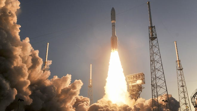 A United Launch Alliance Atlas V rocket blasts off from Complex 41 at Cape Canaveral Air Force Station Saturday, April 14, 2018. The rocket is carrying a multi-payload mission for the US Air Force.