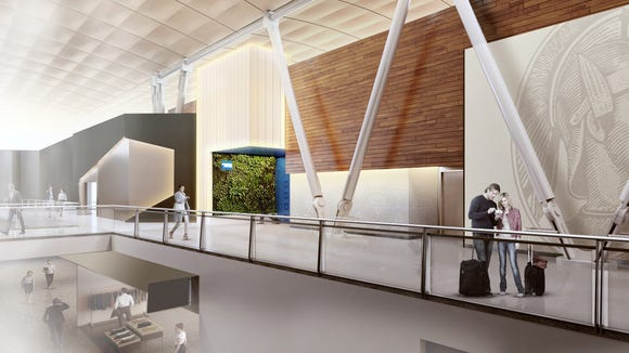 American Express provided this rending that shows the entrance to its planned new Centurion Lounge at Terminal 4 of  New York's JFK Airport.