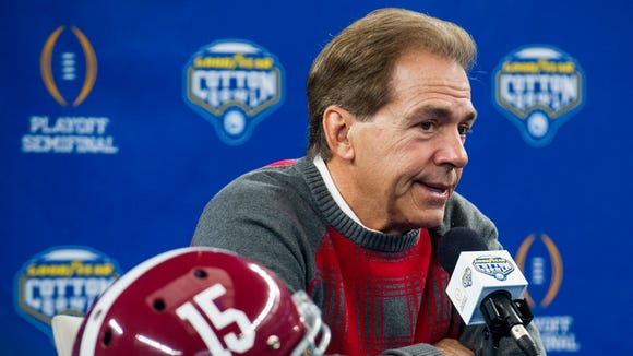 Alabama head coach Nick Saban at Media Day for the