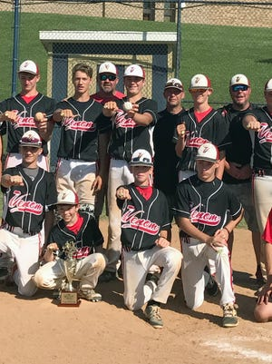 The 13U Valley Venom travel baseball team won the Nations World Series in Christiansburg on July 9. Team members are: Front row from left: team mascot Ava McDowell, Aidan Miller, Ty Lafferty, Mason McDowell, Cayden Clements, and team manager Mike McDowell.  Back row from left: Ben Craig, Dustyn Fitzgerald, Skyler Barnett, coach Tony Cooke, Henry Cooke, head coach Chris Gutt, Landon Lightner, coach Pete Lafferty, Tanner Leche, and coach Putt Fitzgerald.