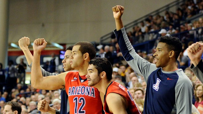Dec 5, 2015: Arizona Wildcats  bench celebrates during a game against the Gonzaga Bulldogs during the second half at McCarthey Athletic Center. The Wildcats won 68-63.