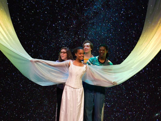 """Allison Heinz (from left), Briana Thomas, Matthew Denton, and Chris Ambrose in """"A Wrinkle in Time."""""""