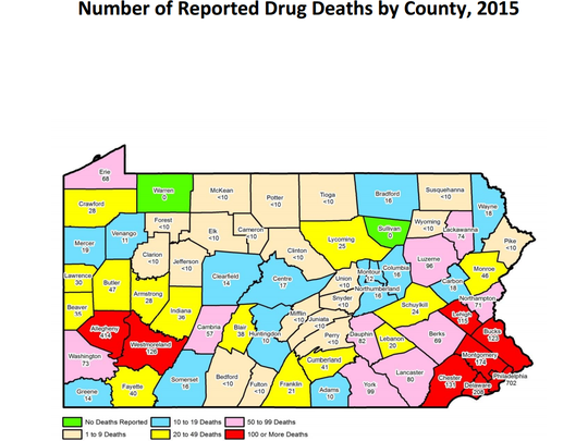 Drug deaths in Pennsylvania, 2015