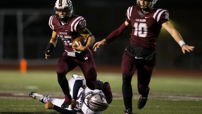 Calallen's Alec Brown breaks free from a defender during their District 30-5A Football Championship game on Friday, Nov. 9, 2017, at Wildcat Stadium in Calallen.