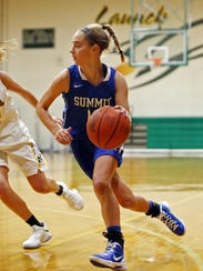 Summit guard Rachel Martin drives and scores in the