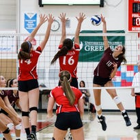 Menomonee Falls sophomore Ashley Guenveur (10) elevates for a kill during the sectional semifinal match against Hamilton at Arrowhead on Thursday, Oct. 27, 2016.