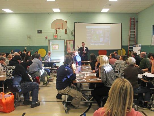 More than 50 residents gathered May 2, 2017, at Mann