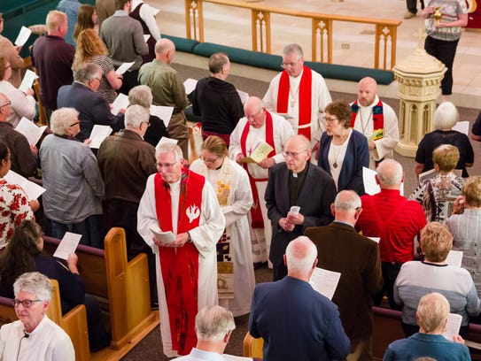 Scene from the final service at St. Andrew Lutheran