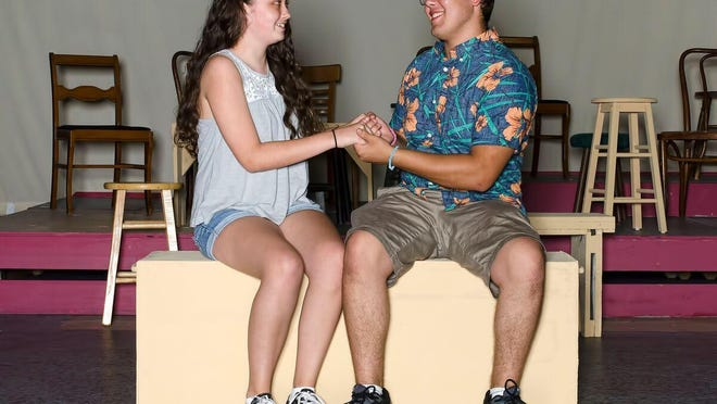 """Katie Dullghan and Scott Rolon are shown rehearsing a number from """"Broadway's Kids."""""""