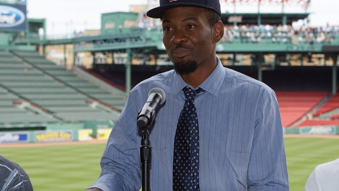 Craig Baker speaks at Thursday's news conference at Fenway Park. (Suzanne Teresa/Premier Boxing Champions)