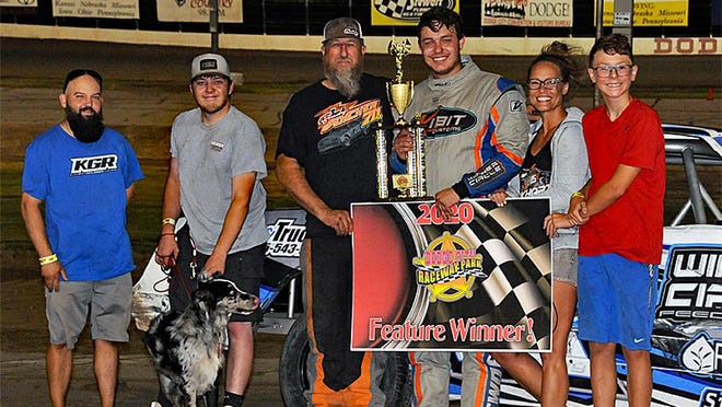 Tathan Burkhart, Hays, won the inaugural running of the IMCA Hobby Stock Roundup at Dodge City Raceway Park on Saturday cashing in $750 of the winner's share. PHOTO BY LONNIE WHEATLEY/SPECIAL TO THE GLOBE
