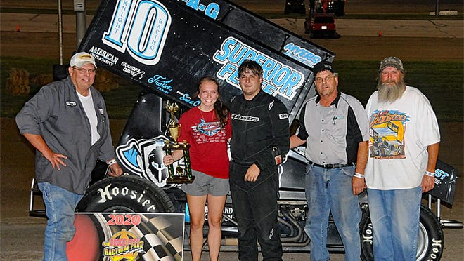 Jordan Knight scored his career first win at Saturday night's Hambelton Racing DCRP Sprint Car feature at Dodge City Raceway Park. PHOTO BY LONNIE WHEATLEY