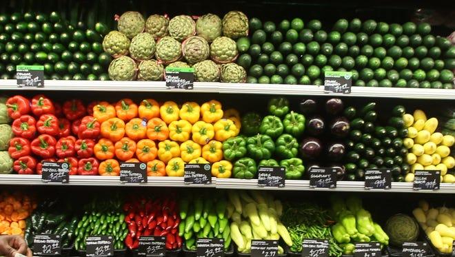 Shelves of vegetables.