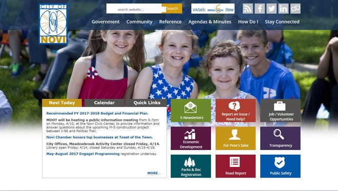 A screen shot of the home page of Novi's upgraded website.