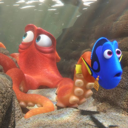 "Destiny, voiced by Kaitlin Olson, top, Bailey, a beluga whale voiced by Ty Burrell, and Dory, voiced by Ellen DeGeneres, appear in a scene from ""Finding Dory."""