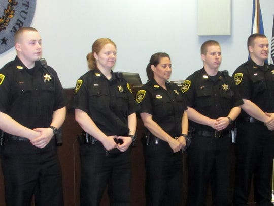 Chemung County correction officers, from left, Joseph