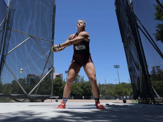 Arizona State's Maggie Ewen holds NCAA records in hammer throw and shot put. But the senior fouled three times in hammer throw at a NCAA preliminary meet and will not defend her national title in that event this week in Eugene, Ore.