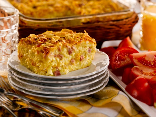 This layered brunch casserole is easy to prepare and