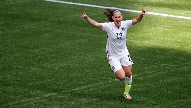 U.S. midfielder Lauren Holiday celebrates her first-half goal against Japan in the Women's World Cup final at BC Place in Vancouver on Sunday.