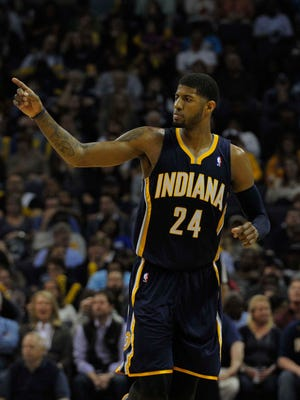 Indiana Pacers forward Paul George (24) during the game against the Memphis Grizzlies at FedExForum. Memphis Grizzlies defeat the Indiana Pacers 82 - 71.