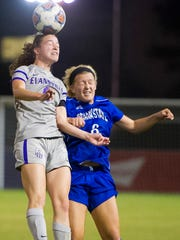 Evansville's Bronwyn Boswell (6) heads the ball away from Indiana State's Pam Silies (6) during their game at Arad McCutchan Stadium in Evansville, Wednesday, Oct. 19, 2016.
