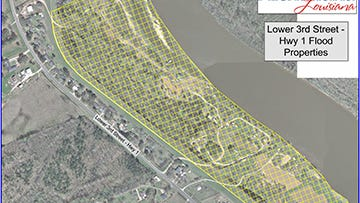 This map shows the area (in yellow shading) affected by a water boil advisory on Lower Third Street in Alexandria.