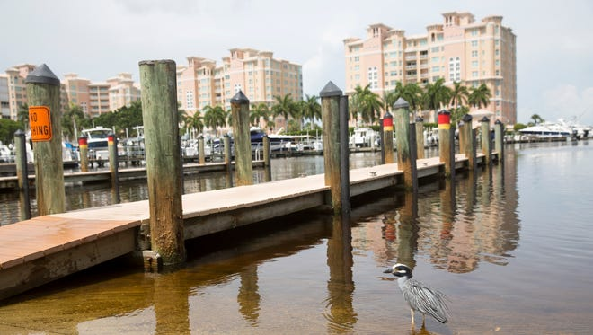 Repairs are underway to the area surrounding the public boat launch and docks at Cocohatchee Marina on July 7, 2017.