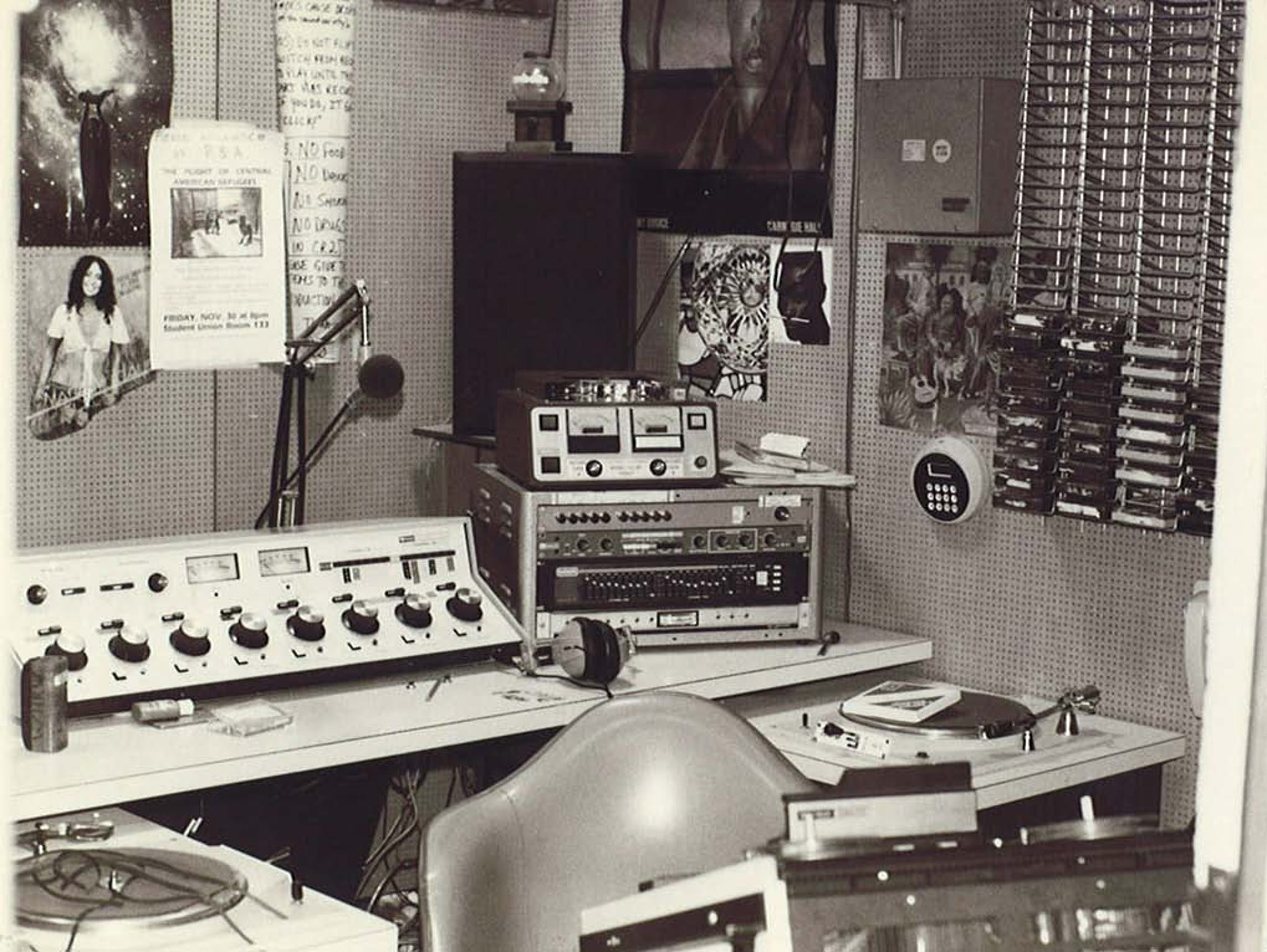 The control room at WHRW Binghamton in the early 1980s