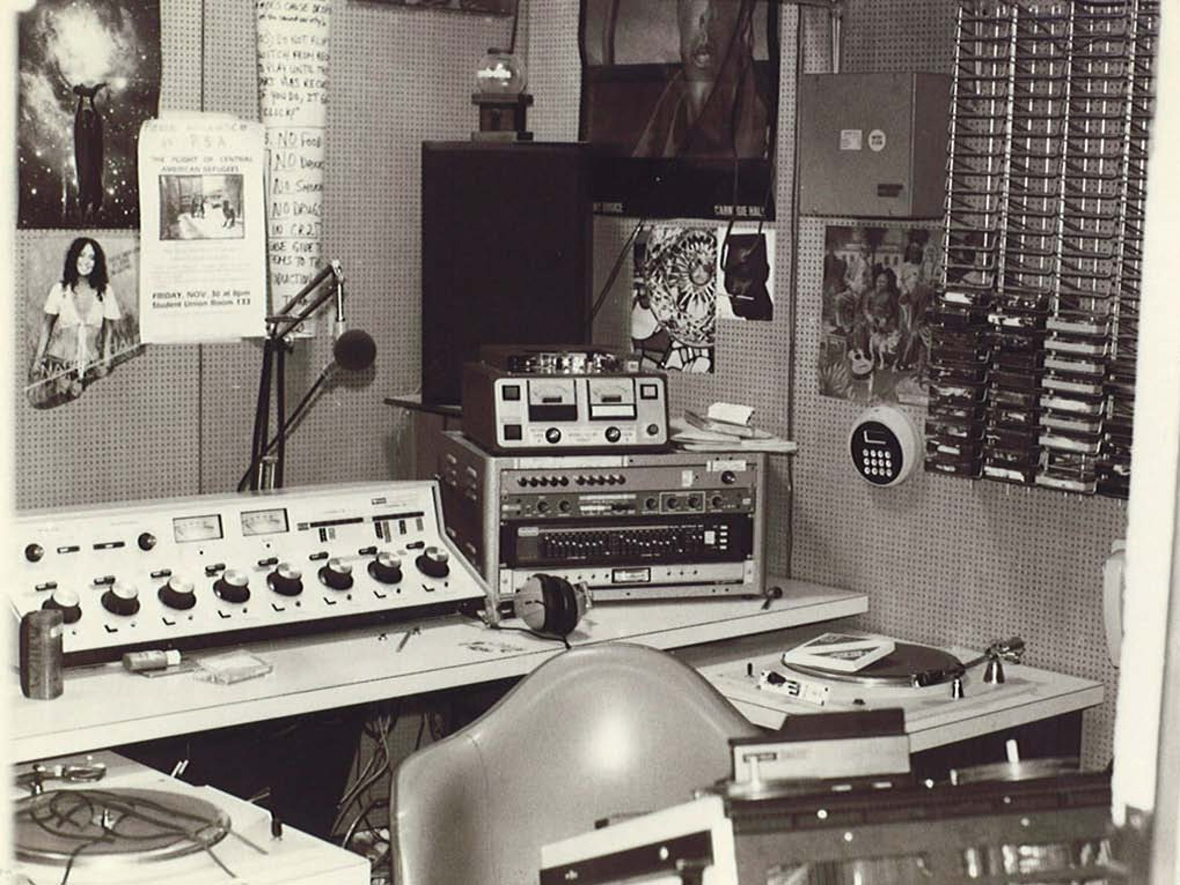 The control room at WHRW Binghamton in the early 1980s included turntables, a cart machine and a control board among its technology.