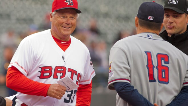 Pat Kelly, pictured here during the 2018 Louisville Bats season opener, was announced as the Bats manager ahead of the 2018 and 2020 seasons, but thanks to a coaching change and the coronavirus pandemic, has only managed 10 games for the Bats. That will soon change.