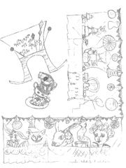 A sketch of the Mad Hatter's Tea Party section designed