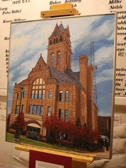 Bailey VanKirk's photorealistic rendition of the Ottawa County Courthouse, painted in oil on canvas.