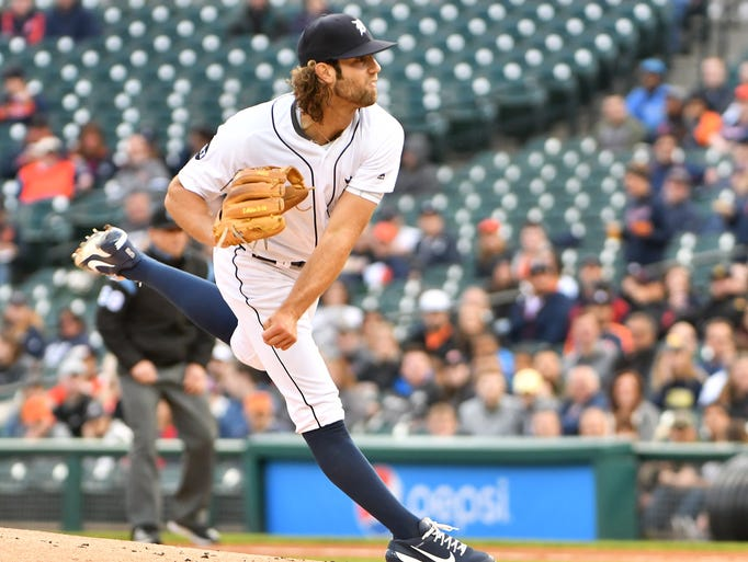 Tigers pitcher Daniel Norris works in the first inning