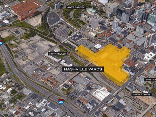 An aerial view of Nashville Yards.