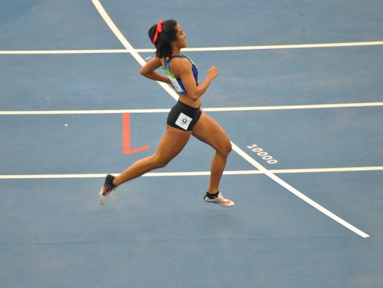 Guam sprinter and 2017 PDN Pigskin Prognosticator Regine Tugade, during her 100M sprint at the 2016 Rio Olympic Games.