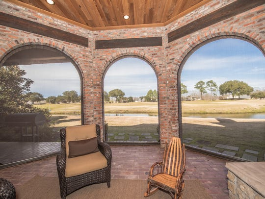 The outdoor entertainment area has stunning views of