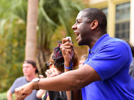 Tallahassee mayor Andrew Gillum speaks at the March