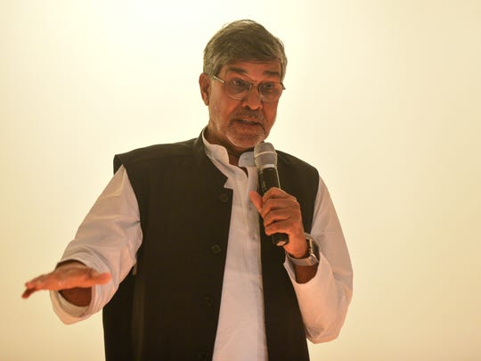 Nobel Peace Prize winner Kailash Satyarthi delivered a speech to the attendees of PeaceJam at The Globe on Saturday.