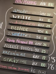 The current selection of beers on tap is displayed