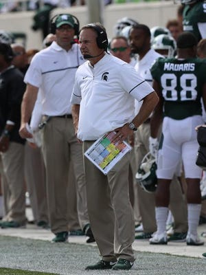 Michigan State Spartans head coach Mark Dantonio on the sidelines during first half action against the Wisconsin Badgers Saturday, Sept. 24, 2016 at Spartan Stadium in East Lansing, MI.