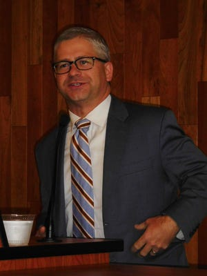 10th District U.S. Rep. Patrick McHenry, R-Lincoln, speaks to the Council of Independent Business Owners at UNC Asheville Friday.