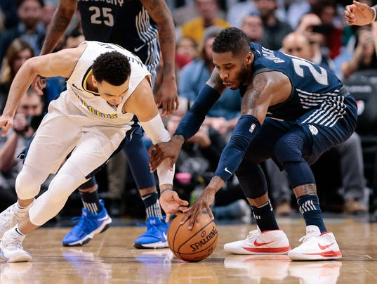 Dwight Buycks, Jamal Murray, Detroit Pistons at Denver Nuggets