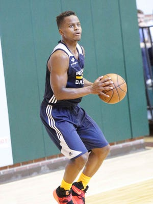 NBA Draft Prospect Yogi Ferrell runs shooting drills during a work out with the Indiana Pacers, at Bankers Life Fieldhouse TCU Court,  Friday July 17th, 2016.