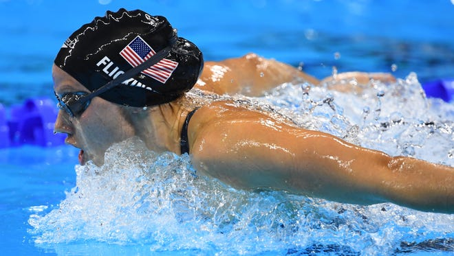 Hali Flickinger competes during the women's 200-meter butterfly final in the Rio 2016 Summer Olympic Games Wednesday at Olympic Aquatics Stadium.