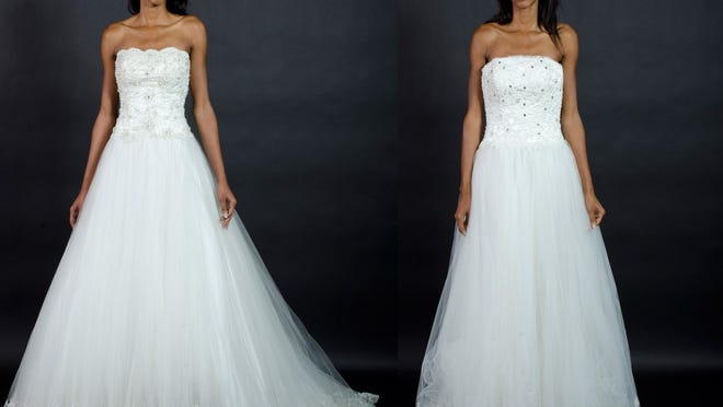 A comparison shows a real Mon Cheri wedding gown (left) and a counterfeit.